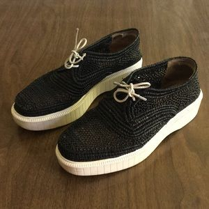 Robert Clergerie black raffia shoes
